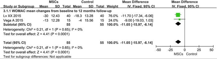 WOMACに見る変形性膝関節症の改善効果