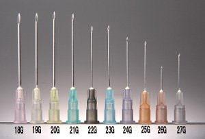 様々なゲージの注射針